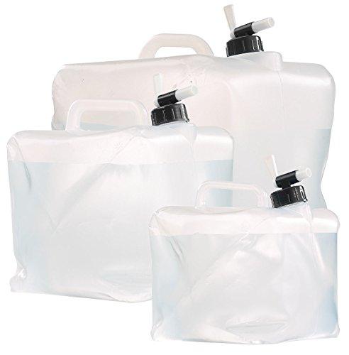 Semptec Urban Survival Technology Kanister mit Hahn: Faltbarer Wasserkanister mit Zapfhahn, 5, 10 und 20 Liter-Set (Wasser-Kanne faltbar)