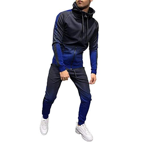 YEBIRAL Herren Sportanzug Basic Farbverlauf Anzug Jogginganzug Hoodie Jacke Hose 2-teilig Trainingsanzug