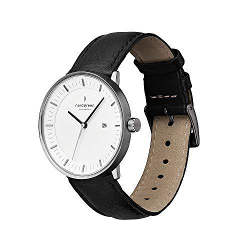 Nordgreen Philosopher skandinavische Herrenuhr in Anthrazit mit weißem Ziffernblatt und austauschbarem 40mm Leder Armband Schwarz 10006