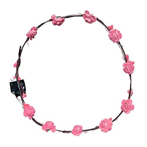 PinzhiHochzeit Krone Blume Stirnband LED Leuchten Haar Kranz Haarband Girlanden