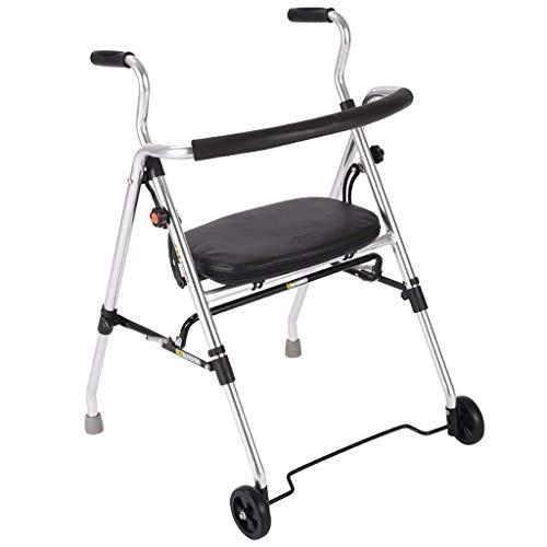 WXDP Autopropulsado Andadores con 2 Ruedas, Plegable con Asiento asistido, aleación de Aluminio, Apto para Personas Mayores discapacitadas