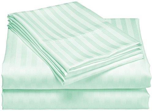 Juego de sábanas de 4 piezas (1 sábana inferior + 1 sábana superior + 2 fundas de almohada) de algodón egipcio de 600 hilos (tamaño king size, color aguamarina)