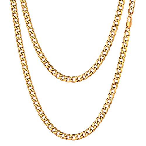 FOCALOOK Herren Kette 18k vergoldet 5mm hochglanzpoliert Panzerkette Halskette Männer Jungen 55cm kubanische Gliederkette Punk Hip Hop Rapper Halsschmuck Geschenk für Valentinstag Jahrestag