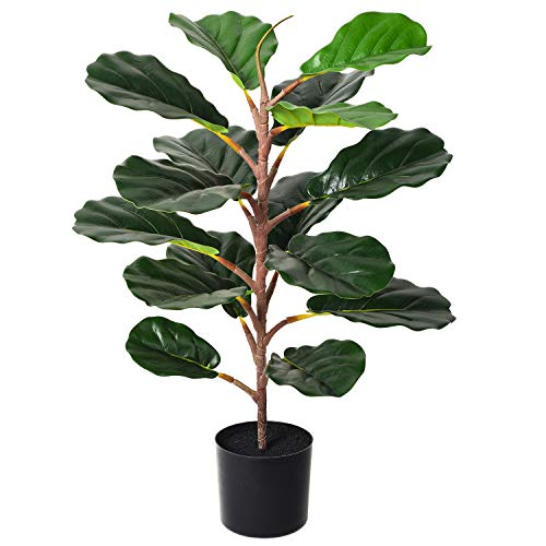YQing 70cm Artificial Ficus Lyrata árbol Bonsai, Elastica Ficus árbol Benjamina bonsai ficus Artificial Decoracion para la Decoración de la oficina en casa