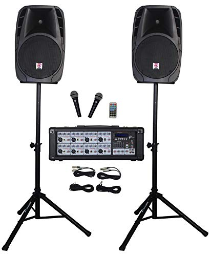"""Rockville RPG2X12 Package PA System Mixer/Amp+12"""" Speakers+Stands+Mics+Bluetooth, 12'"""