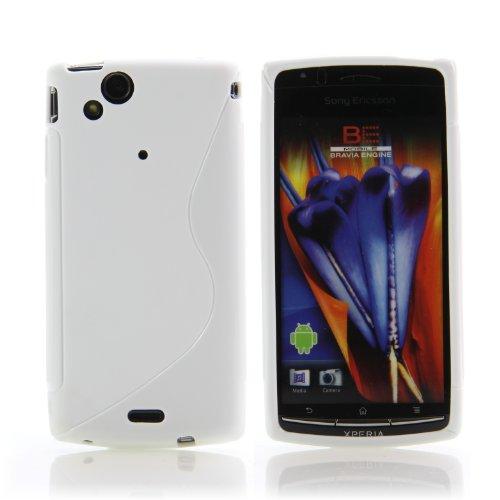 Handy Lux® Schutz Hülle für Sony Ericsson Xperia Arc S X12 / LT15i / LT18i TPU Silikon Case Etui Cover Involto Motiv Design S-Line Weiß