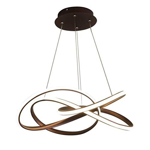 Tee Fee LED Pendelleuchte Spiralhalterung 64W 3-farbig segmentiert dimmbar Kronleuchter Büro Hängelampe verstellbar Wohnzimmer Esszimmer Restaurant Aluminium Dekoration Deckenlampe - Braun