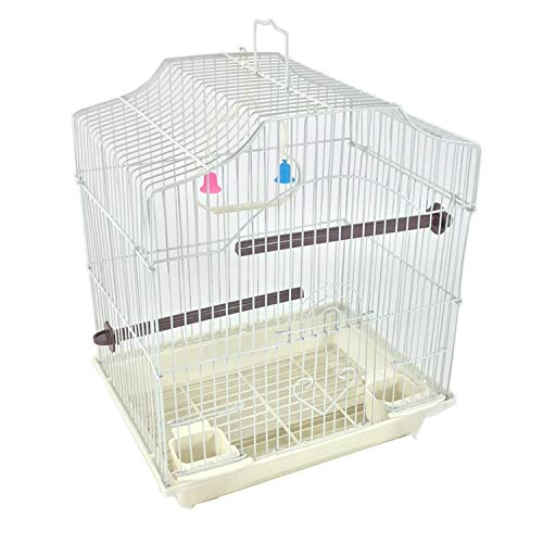 White 14-inch Extra Small Birds Parakeet Wire Bird Cage for Finches Canaries Lovebirds Green Cheek Conure Perfect Bird Travel Cage and Hanging Bird House