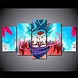 45Tdfc 5 Piezas Impresiones sobre Lienzo Modular DecoracióN PóSter Cuadro Superhéroe Anime Movie Blue Saiyan Goku,Talla:150 * 80Cm HabitacióN Sala HogareñA