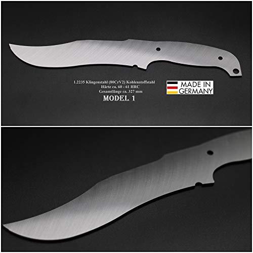 Rohling Messer Model 01 / 327mm Poliert Messerbau Messerstahl Messerklinge Klingenrohling Jagdmesser