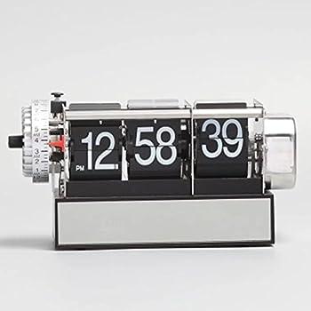 KikerTech KHOME Modern Mechanical Page Turing Desk Clock Moving Gear Wall Clock 3D Movements Novelty Desk Clock Office Shelf Clock Home Decorative Alarm  Black - Desk Flip Clock