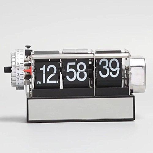 KikerTech KHOME Modern Mechanical, Page Turing Desk Clock, Moving Gear Wall Clock, 3D Movements, Novelty Desk Clock, Office Shelf Clock Home Decorative Alarm (Black - Desk Flip Clock)