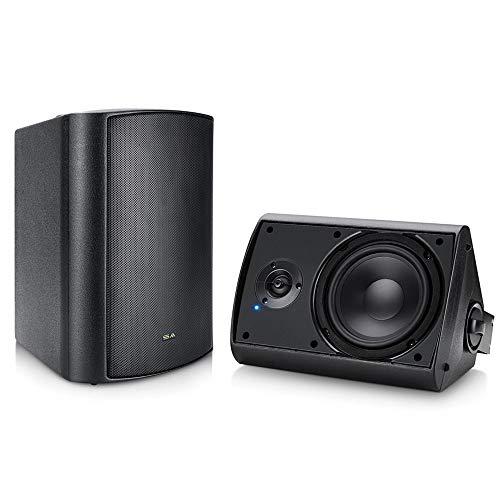 Wireless Outdoor Speakers, 6.5' Bluetooth Weatherproof Speakers for Deck Patio Backyard, Pair (Black)