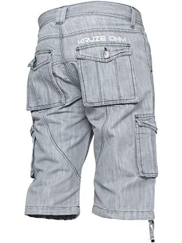 Ze ENZO KZS118 Prime Mens Casual Work Cargo Combat Shorts Heavy Duty Denim Half Pants All Waists Grey 36W