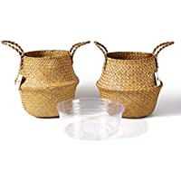 2-Pack Potey Woven Seagrass Plant Basket with Handles