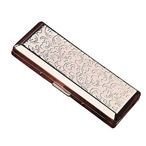 YXZN Retro Zigarettenetui Metall Edelstahl Zigarettenbox Zigarettenhülle Zigarettenkasten Zigarettencase für 14 Zigaretten,Silver,108X46X20MM