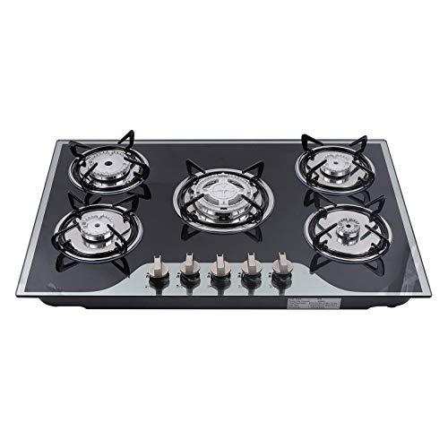 Cocina de gas, vidrio templado, acero inoxidable, 90,3 cm LPG/NG, 5 llamas, para gas natural