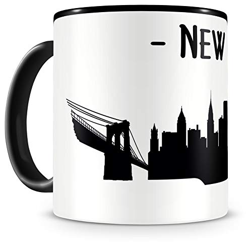 Samunshi® New York Skyline Tasse Kaffeetasse Teetasse H:95mm/D:82mm schwarz