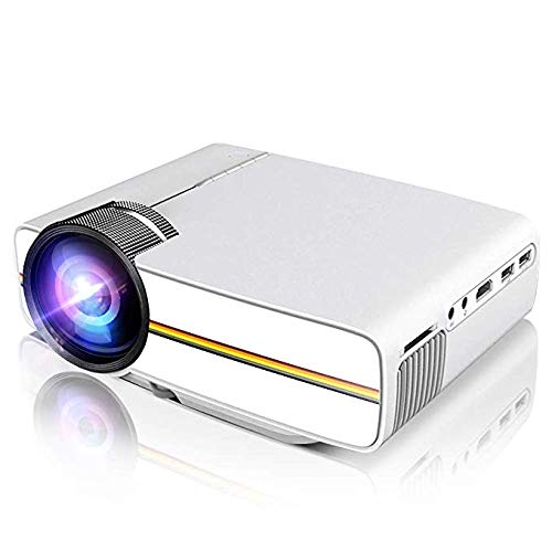 Portable Projector Support 1080P 1200 Luminous Efficiency 150' for Outdoor Indoor Movie Night, Support Blu-ray DVD Player, Laptops, Tablets, Smartphones and HD Games (YG400 White)