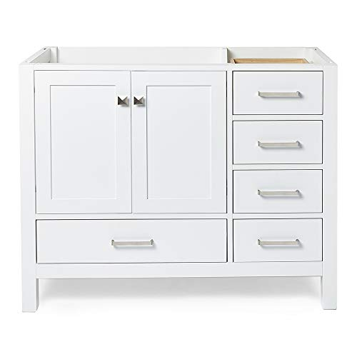 ARIEL 42' inch White Bathroom Vanity Base Cabinet with Left Offset Sink Configuration | 2 Soft Closing Doors and 5 Full Extension Dovetail Drawers | Satin Nickel Hardware | 42' x 21.5' x 34.5'