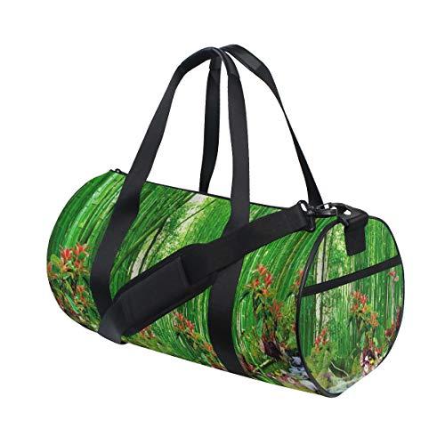 HARXISE Verde Bambú Verano Al aire libre Bosque Selva Cascada Roca Naturaleza Paisaje Paisaje,Bolsa de equipaje de viaje Deporte Lienzo ligero Equipaje de fitness Bolso de tambor Desmontable