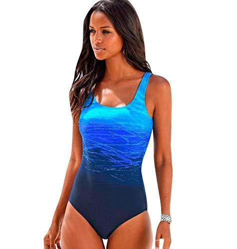 Bañador Vientre Plano Bandeau Traje de Baño Mujer Una Pieza Mujer Playa Natacion Bikinis con Relleno para Gorditas Monokini Bikini Triangulo Señora Trajes de Baño Enteros Deportivo Azul XL