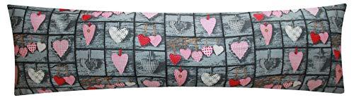 Baumwoll Renforcé Seitenschläferkissen Bezug 40x145cm - Herzen Love Liebe - Öko-Tex 100% Baumwolle Stillkissenbezug (358-1-B)