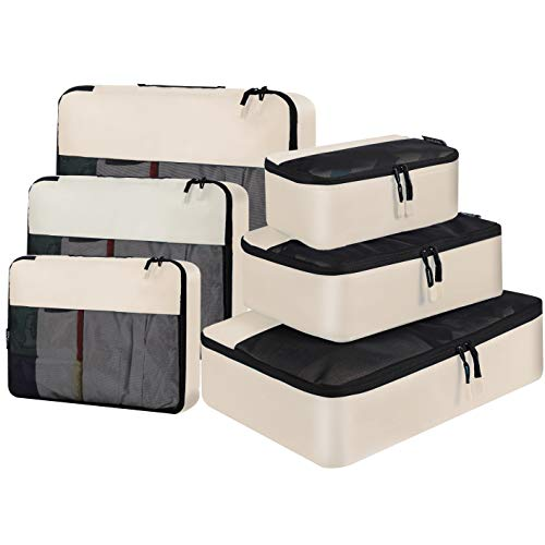 BAGAIL 6 Set / 8 Set Packing Cubes Luggage Packing Organizers for Travel Accessories (6 Set Beige)