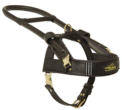 Guide et aide en cuir Harnais pour chien avec long manche – Taille L