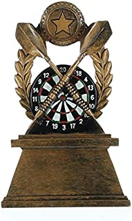 Decade Awards Darts Trophy - Colored Dart Board Award - 7 Inch Tall - Engraved Plate on Request
