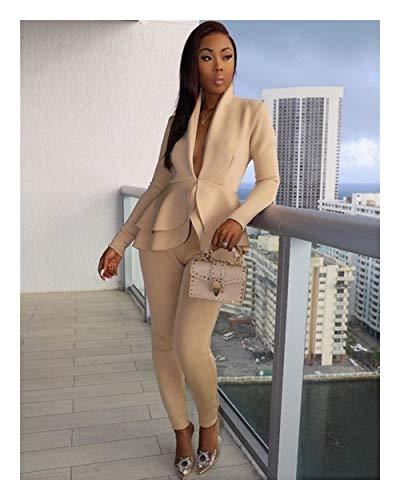 ASVNDD Frauen-Winter-Frauen-Set Anzug Voll Sleeve Raff-Bleistift-Hosen-Anzug Zweiteiler Büro-Dame Outfits Uniform (Color : Khaki, Size : Medium)