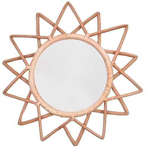 Newin Star Espejo Colgante, Forma de Pared Espejo Rattan Decorativo Espejo Redondo Marco de la Estrella Arte Hecho a Mano Natural Colgante por la Sala de Estar Dormitorio