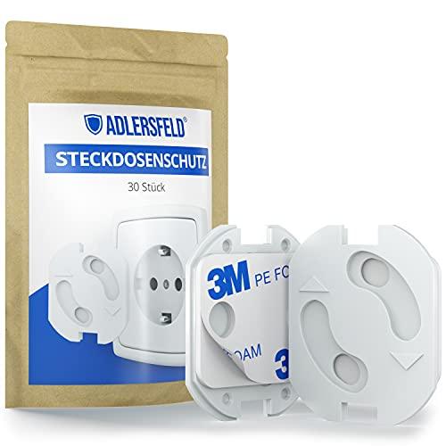 Adlersfeld® - Steckdosen Kindersicherung - [30 Stück] - Steckdosenschutz zum Kleben - Kindersicherung für Steckdose - Steckdosensicherung für Babys und Kinder