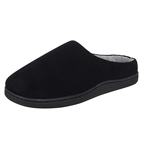 Hanes Women's Soft Waffle Knit Clog Slippers with Indoor/Outdoor Sole, Black, Large
