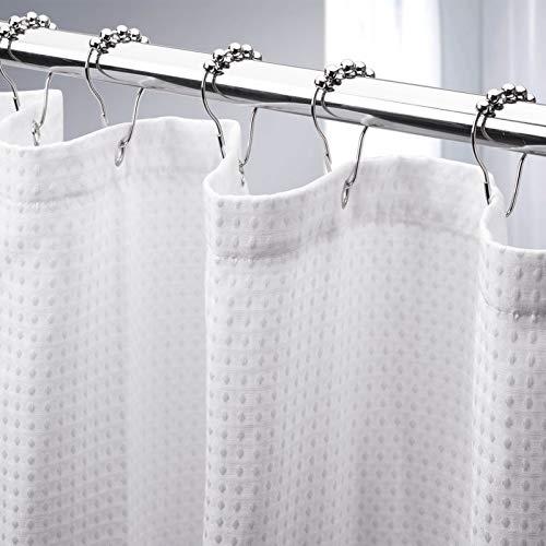 AmazerBath Weißer Duschvorhang für Badezimmer, Waffelmuster, 183,9 x 183,9 cm, Hotel-Duschvorhang, maschinenwaschbar, 230 g/m², strapazierfähig, weiße Wabenstruktur.