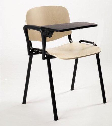 KARISMA - ISO Legno d2 + TAV, Sedia in Legno Ufficio/Scuola/Corsi più Tavoletta Ribaltina Scrittoio