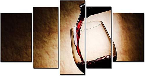 Fifase Cuadros En Lienzo Arte Moderno Arte Decorativo De La Pared Pinturas De Vino Arte De La Pared Una Taza De Vino Y Botella De Vino 5 Paneles Imagen Impresa En Lienzo para La Decoración Moderna De