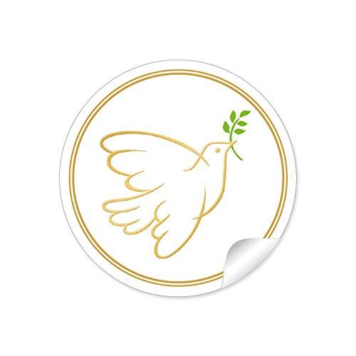 24 STICKER: 24 Schöne Etiketten in Gelb mit einer Taube • Papieraufkleber 4 cm, rund, matt für Gastgeschenke oder Tischdeko: Hochzeit, Taufe, Konfirmation, Kommunion, Kekse, Cupcakes, Muffins, Backen