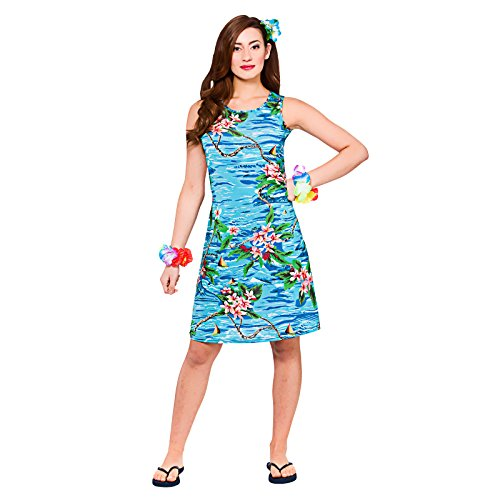 Unbekannt Ladies Orchid Ocean Dress Hawaiian Luau Fancy Dress Up BBQ Party Costume Outfit