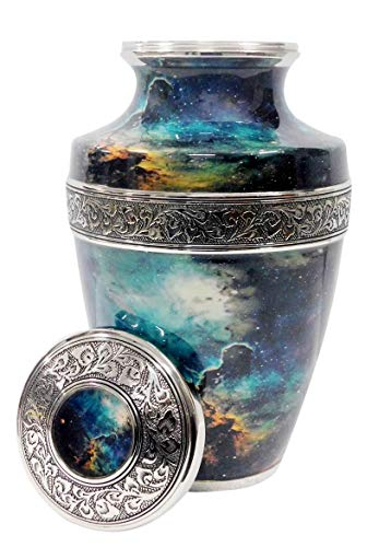 Supernova-100% Brass,Silver,Cremation Urns for Adult Ashes,(Silver)