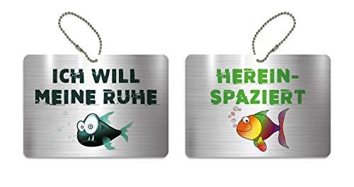 KaiserstuhlCard Türschild Ich Will Meine Ruhe Hereinspaziert Schild WC Kinderzimmer Deko Anhänger Wendeschild 14,8 cm x 10,5 cm Fisch Symbole
