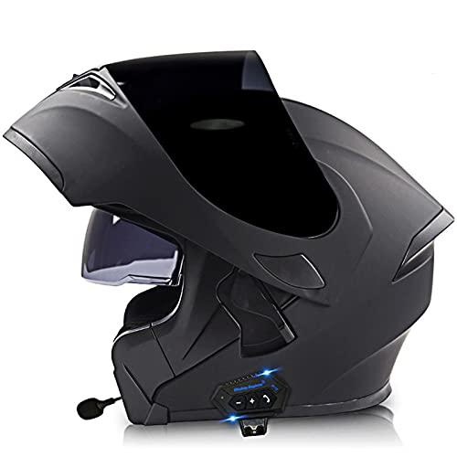 Lmoto-helmet Bluetooth Casco Moto Modular ECE Homologado Casco de Moto Integral para Mujer Hombre Adultos con Anti Niebla Doble Visera Casco Integrado con 500mA Auriculares Bluetooth