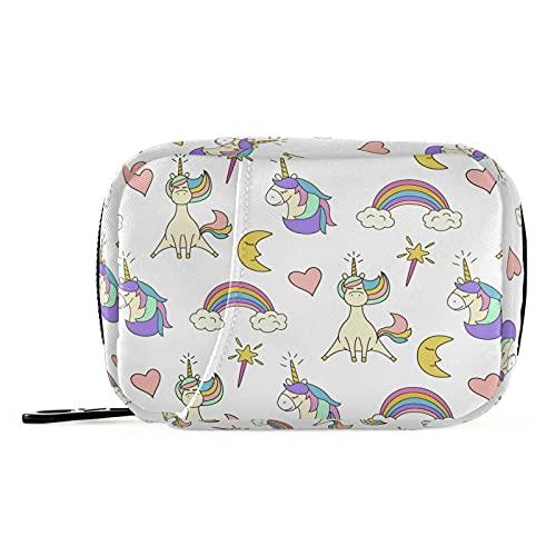 Naanle Pastillero de unicornios lindo 7 días para píldoras de unicornios, bolsa organizadora de píldoras de viaje con cremallera, portátil, tamaño compacto para soporte de suplemento de vitamina