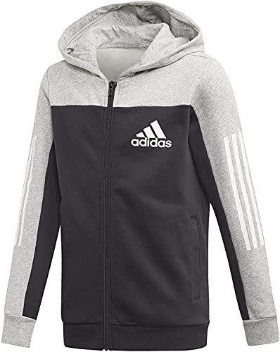adidas Performance Sport ID 158 - Giacca con cappuccio per bambini, colore: grigio/nero