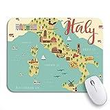 MIGAGA Alfombrilla de ratón,Toscana Mapa de Italia Animales y Lugares de interés Comida Italiana,Goma Antideslizante Rectangular para Escritorio,portátil,Oficina,Trabajo,9.5'x7.9'