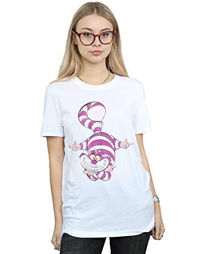 Disney Women's Alice in Wonderland Cheshire Cat Upside Down Boyfriend Fit T-Shirt White XX-Large