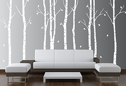 "Birch Tree Wall Decal Nursery Forest Vinyl Sticker Removable Animals Branches Art Stencil Leaves (9 Trees) #1263 (Matte White, 96"" (8ft) Tall)"