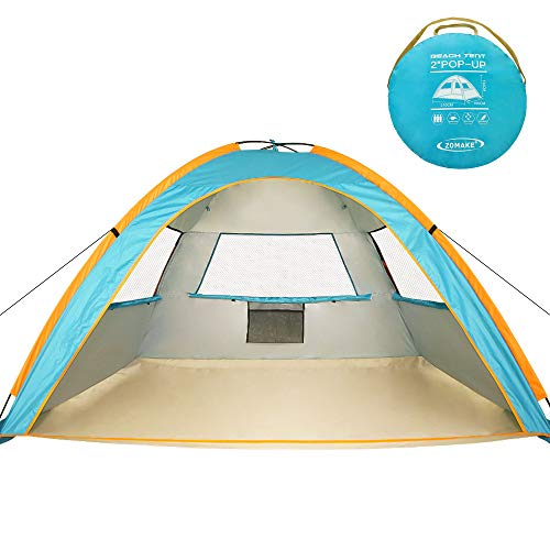 ZOMAKE Pop Up Beach Tent 3-4 Person, Portable Instant Sun Shelters Cabana Sun Shade with UPF 50+ UV Protection for Kids & Family