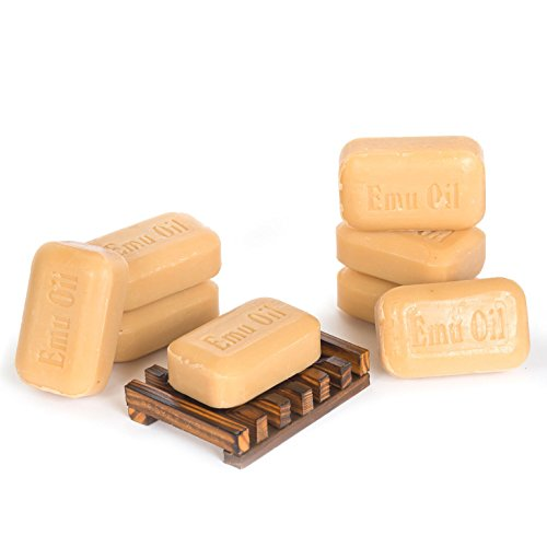 Soap Works Emu Oil Bar Soap, 8-Count with Free Soap Works Natural Wood...