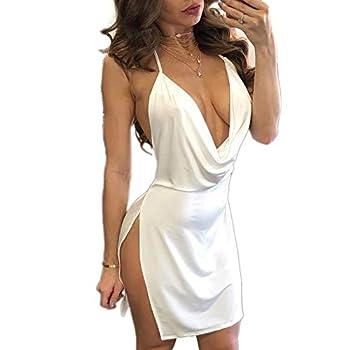 VANCOL Women s Sexy Deep V-Neck Halter Backless Slit Mini Party Club Dress  M White